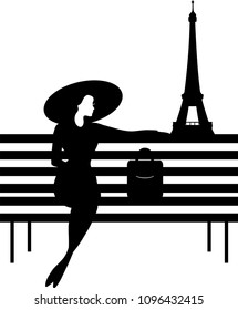 Stylish graphic silhouette of a woman on a bench in Paris. Isabelle series