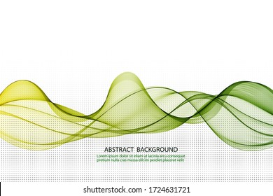 Stylish green horizontal wave. Abstract smoky wave line background