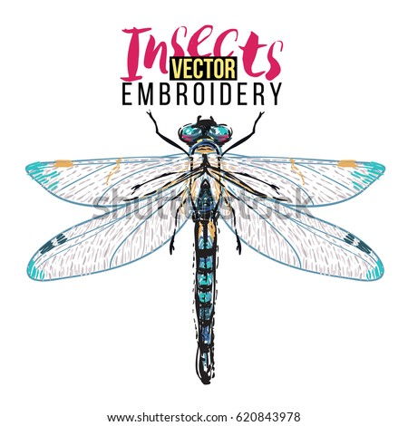 Stylish Greeting Card Beautiful Dragonfly Embroidery Stock Vector