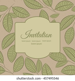 Stylish greeting card with leaves on ivory background