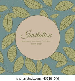 Stylish greeting card with leaves on turquoise background