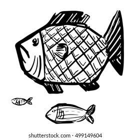 Stylish Grunge Fish Black Lineart Vector Illustration