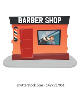 Stylish hairdresser cutting hair of client at barber shop. Beard man getting haircut at salon. UI illustration of a bearded male hipster. Barber tying cape around customer.