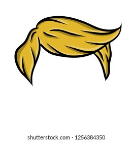 Stylish hairstyle men blonde like Trump. Fashionable haircut. The element of a human head. Hand - drawn hair. Caroon flat illustration