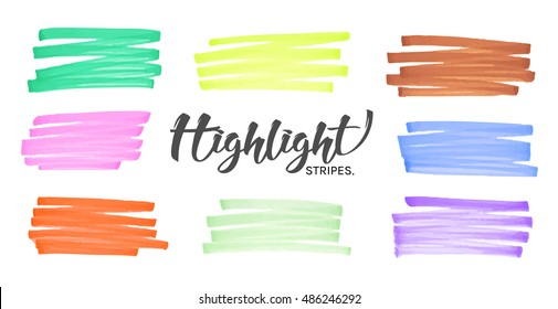 Stylish hand drawing highlight color stripes from marker pen or highlighter. Set of elements marker stroke for your creative design project. Vector illustration.
