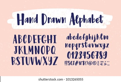 Stylish hand drawn english alphabet. Collection of upper and lower case letters arranged in alphabetical order, figures and symbols handwritten with calligraphic font. Modern vector illustration.
