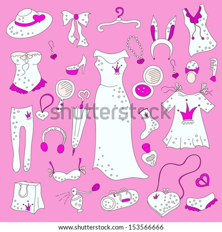 a4f2e1274cf89 Stylish hand drawn pink composition of women related fashion items,  shopping madness, vector set - Vector