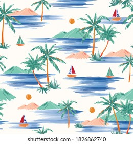 Stylish Hand painted and drawn summer island palm tree ,ocean ,wave ans boat seamless pattern vector,Design for fashion , fabric, textile, wallpaper, cover, web , wrapping and all prints