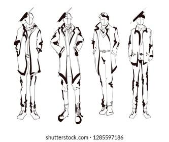 Stylish handsome man in fashion clothes. Fashion man. Hand drawn male models set. Sketches. Handsome stylish man showcasing street fashion
