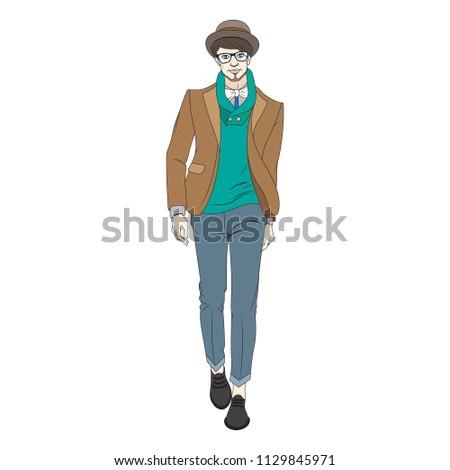 c10719f1f2a3 Stylish Handsome Man Fashion Clothes Fashion Stock Vector (Royalty ...