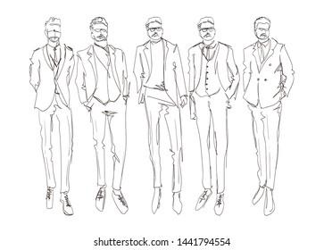 Stylish handsome mans in fashion clothes. Hand drawn beautiful young mens. Stylish mens set. Fashion mens sketch. Fashion men model.
