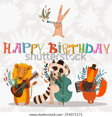 Stylish Happy Birthday Background Animals
