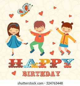 Stylish Happy birthday card with cute kids jumping.  Illustration in vector format