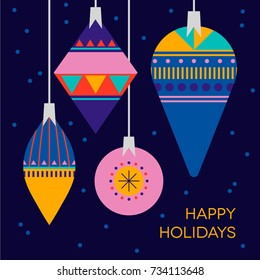 Stylish Happy Holidays greeting card. Beautiful background with Christmas decoration. Merry Christmas and a Happy New Year background.