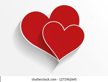 Stylish Hearts Composition.two hearts.Love Hearts.Valentine's background with two red hearts. Vector illustration - Vector