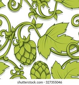 Stylish hop branch hand drawn vector illustration. Seamless pattern background