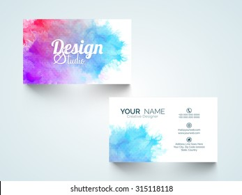 Stylish horizontal business card, visiting card or name card with colorful splash.