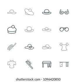 Stylish icon. collection of 16 stylish outline icons such as hair brush, woman hat, office desk, sunglasses. editable stylish icons for web and mobile.