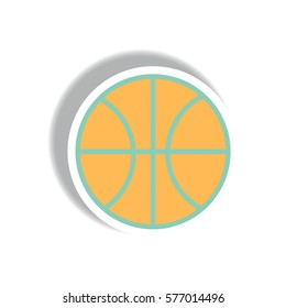 stylish icon in paper sticker style Basketball ball