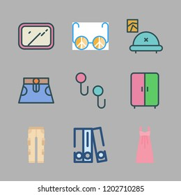 stylish icon set. vector set about dress, blinder, sunglasses and mirror icons set.