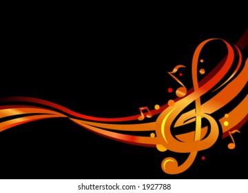 Stylish illustration of music notes on black background