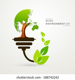 Stylish illustration for World Environment Day with green tree and leaves, concept for save the trees.