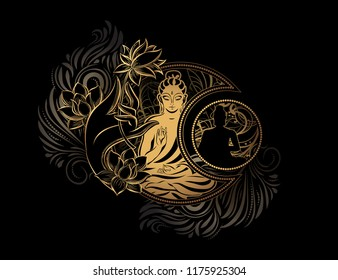 Stylish image of Lord Buddha in the style of Boho Chic. The combination of spirituality and esotericism with ethnic elements and occult symbols - the Crescent And the Sun.