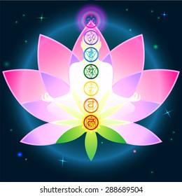 Stylish image symbol chakra man on a dark background in the Lotus