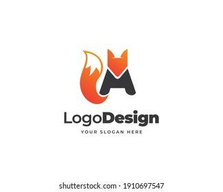 A stylish initial letter fox logo vector. Beast fox animal logo design