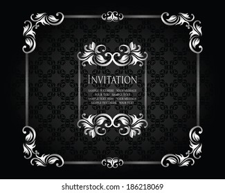 Stylish invitation with a silver frame. Vintage seamless background, retro design