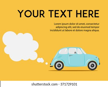 Stylish Italian car with exhaust on the yellow background. Copy space. Cute flat vector illustration for web or print