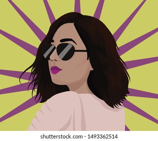 Stylish Lady with Sunglasses Portrait vector illustration