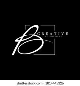Stylish Letter B White Signature Logo Design Template with Squareline Background