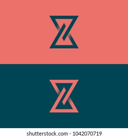 Stylish linear vector logo of hourglass. Eternity design concept.