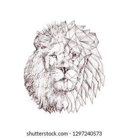 stylish lion head polygonal frame logo illustration vector ink