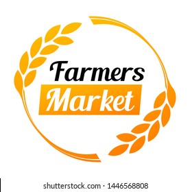 Stylish logo for the Farmers Market in golden color. Round vector illustration on white background.