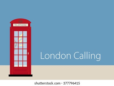 Stylish London drawing of a ringing Phone Booth