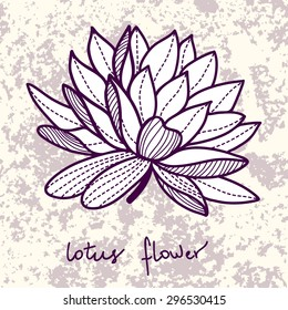 Stylish lotus flower on grunge background