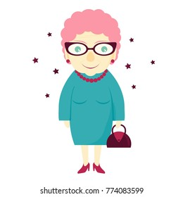 Stylish lovely cute grandmother with a handbag. Elderly woman . The old lady