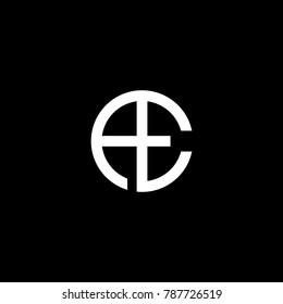 Stylish luxurious creative circular shaped artistic black and white color AE EA A E initial based letter icon logo.