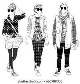Stylish male and female street fashion