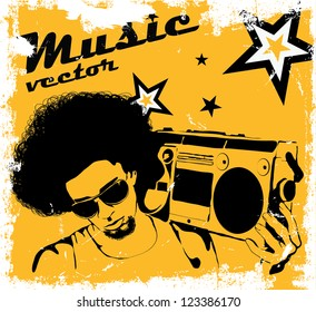 Stylish man with a boombox on the poster of retro style