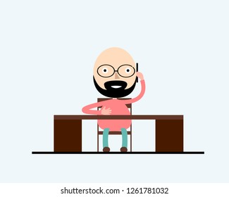 A stylish man sitting at the table in the ofice and working . Vector illustration, trendy style, flat design. Business concept