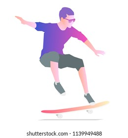 Stylish man skateboarder doing a trick. Isolated vector illustration on white background