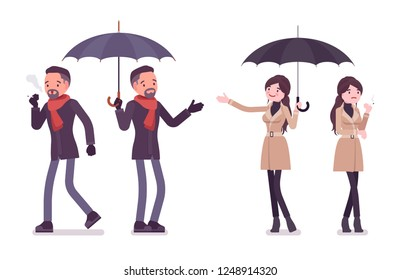 Stylish man and woman with umbrella, smoking, wearing autumn clothes, classic short coat, accessories. Fall outfits for men, women. Vector flat style cartoon illustration isolated on white background