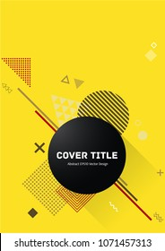 Stylish memphis design placard vector with white, and shapes on background. Cool memphis texture placard page. Front page graphic design for business notebook, dairy or notepad.