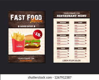 Stylish menu for fast food restaurant. blank for brochure or leaflet for fast food cafe in loft style. Vector template with wood texture elements. illustratoin eps10
