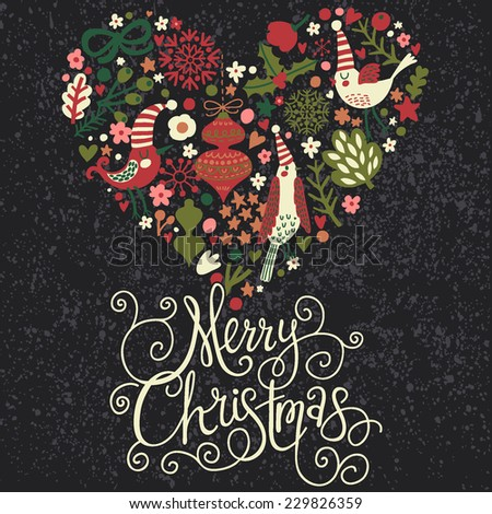 Stylish Merry Christmas Card Cool Dark Stock Vector (Royalty Free ...