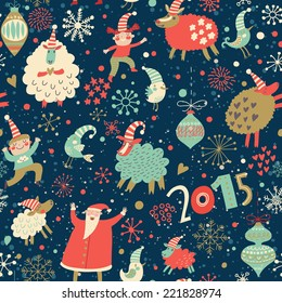 Stylish Merry Christmas seamless pattern with Santa Claus, Elves, sheep, birds, candies and toys in vector. Seamless pattern can be used for wallpapers, pattern fills, web page backgrounds