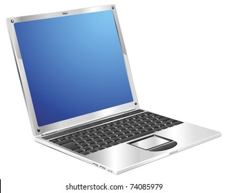 A stylish metallic shiny laptop computer